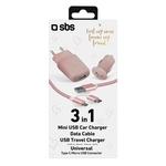 SBS 3in1 Mini USB Auto Ladegerät, Strom Ladegerät und Ladekabel Type C/Micro USB