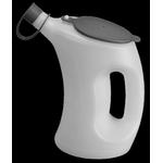 Bidon doseur d'huile en HDPE, 1 litre, bec rigide court, blanc/transparent