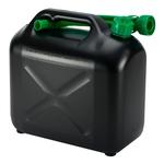 Bidon à essence plastique, 10 litres, noir, avec bec verseur flexible