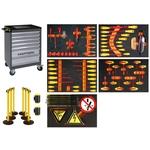 KRAFTWERK Chariot d'atelier VDE et set de barrières de sécurité 103 pièces