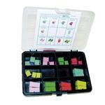 Assortimento di fusibili con 15 fusibili LowProfil e 10 JCase normali in scatola di plastica