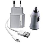Phonix Lightning All in One Kabel, Chargers Kit 3-in-1 [Output: 5V - 2.1Amp] - Car/Travel/USB, weiss