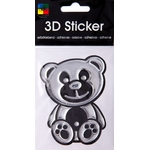 3-D Sticker, Bicolor Teddy, 9 x 9 cm