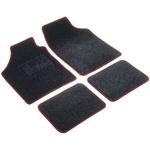 Autoteppich Velours Universal, schwarz/rot, 4-teilig