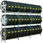 IREGA Grundfeld, Rad-Mark Singelregal mit 3 Ebenen Regalsystem zur Aufnahme von 3 Radsätzen