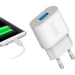 SBS Reiseladegerät 2100 MAH mit EU-Stecker und 1 USB-Buchse 2.1A, weiss